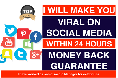 MAKE YOU VIRAL ON ANY SOCIAL MEDIA WITHIN 24 HOURS