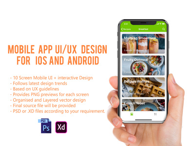 Design Mobile App UI/UX  for iOS and Android