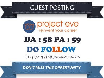 Publish Guest Post on Projecteve - Projecteve.com DA 58 Dofollow