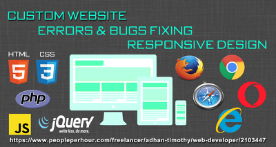 Provide 1 hour website bugs/errors fixing and page customization