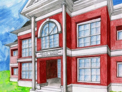 Create hand-drawn and painted architectural illustration