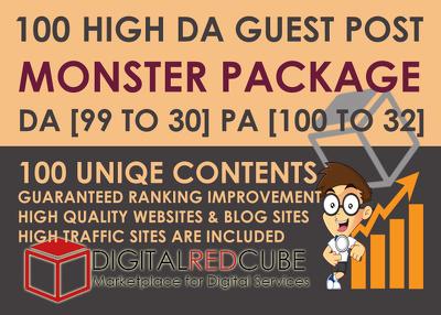 100 High DA Guest Post DA[99 to 30] - Monster Package
