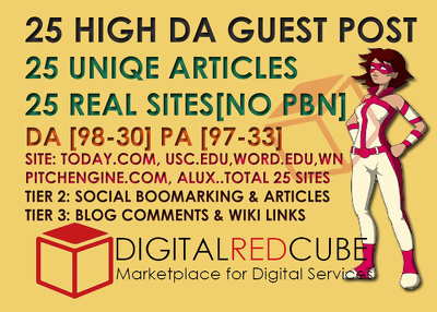 25 High Authority Guest Post DA[99-30] - SEO Backlinks Package