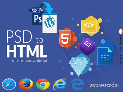 Convert PSD To Responsive HTML Template Or Wordpress Theme