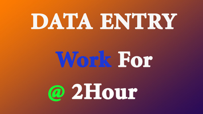 Do All type of Data Entry work for 2hour