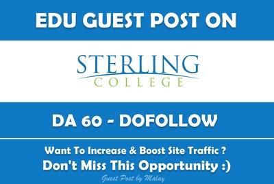 Edu Guest Post on Sterling College. Sterling.edu - DA 60
