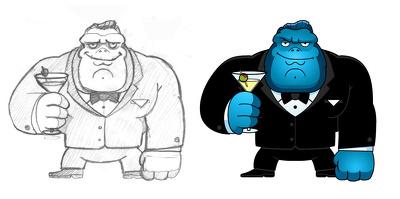 Create an original cartoon character or mascot pencil sketch