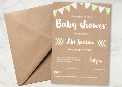 Design a bespoke A5 one sided invite
