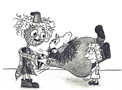 Create a hand-drawn black and white cartoon illustration!