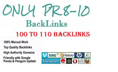 Create 100-110 high quality backlinks PR 8-10