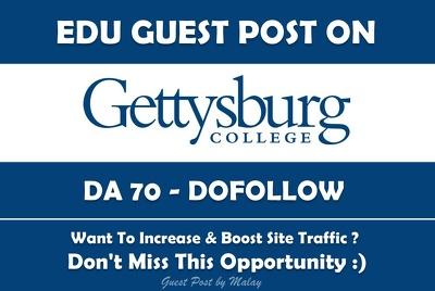 Edu Guest Post on Gettysburg College. Gettysburg.edu - DA 70