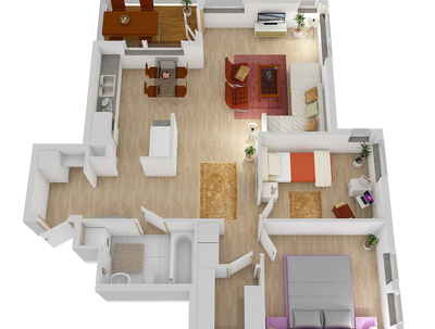 Make a 2D or 3D floor plan, up to 50 sqm,