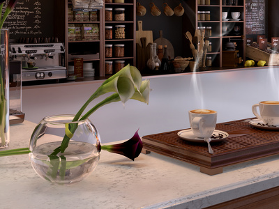 Coffee bar (Concept design & High quality 3D visualization)