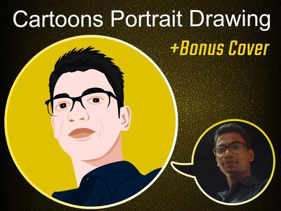 Draw vector cartoon portrait or avatar