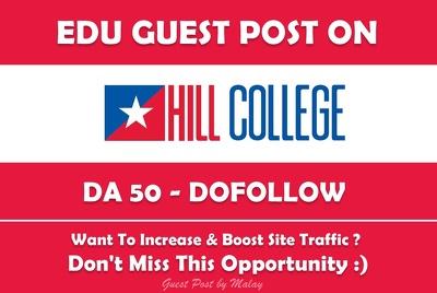 Edu Guest Post on Hill College. Hillcollege.edu - DA 50