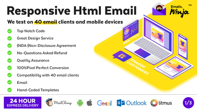Responsive Html Email, 40+ email clients Supported, Design PSD