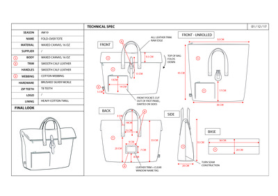 Create a Bag/Accessories CAD technical spec