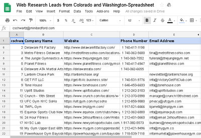 Data scrapping research for 300 Email address.