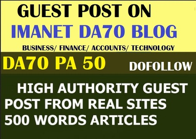 Guest Post On Imanet finance,tech and accounting DA70 niche Blog