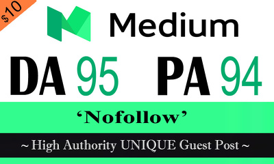 "Write and publish UNIQUE Guest Post on ""MEDIUM"" DA-95"