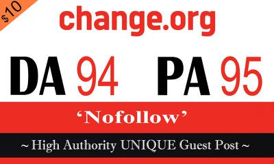 "Write and publish UNIQUE Guest Post on ""Change"" DA-94"