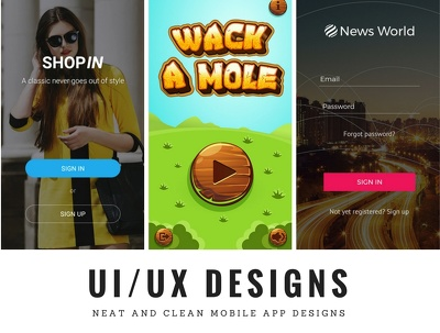 DESIGN A PROFESSIONAL UI/UX DESIGN FOR YOUR MOBILE APP