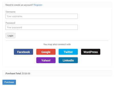 Do social login integration for your website