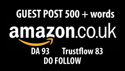 Do Follow Backlink  / guest post on Amazon Amazon.co.uk (DA93)