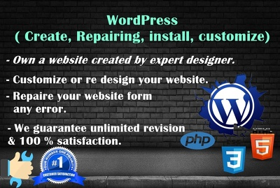 Create, Repairing, Customize any Wordpress website