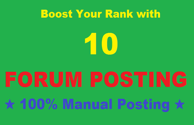 Create 10 Forum Post Back links Relative to Site Niche