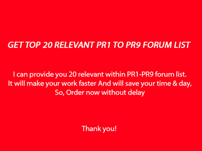 Get TOP 20 relevant  PR1 to PR9 forum list