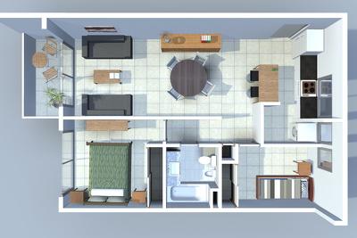 Provide a 3d furnished floorplan