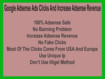 Provide 70 Google Adsense Ads Clicks And Increase Revenue