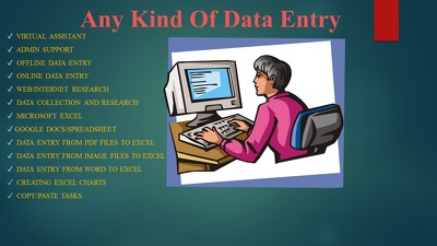 Any kind of data entry work for 1 hour
