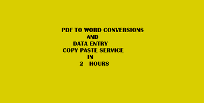 Do all type of data entry, copy paste work for 2 hours