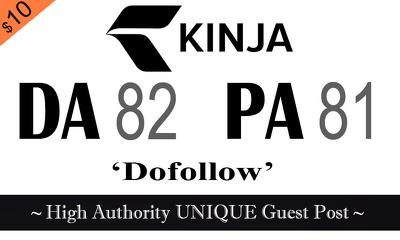 """Write and publish UNIQUE Guest Post on """"KINJA"""" DA-94"""