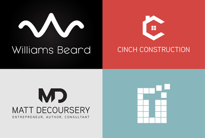 Design trending minimal, flat and sleek logos with copyrights