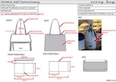 design a bag/ purse and create a CAD technical drawing