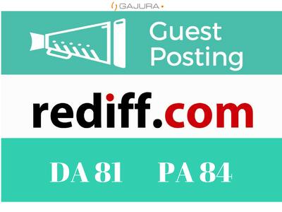 Publish a Guest Post on Rediff Blog - Rediff.com - DA 81