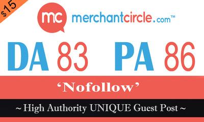 "Write and publish UNIQUE Guest Post on ""MERCHANTCIRCLE"" DA-83"