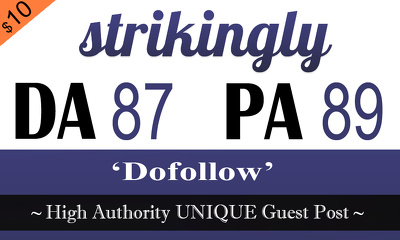 "Write and publish UNIQUE Guest Post on ""STRIKINGLY"" DA-87"