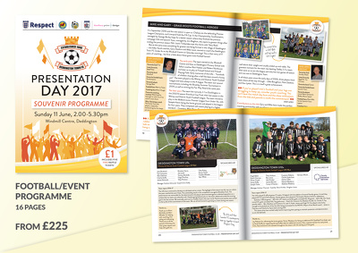 Design a 16-page football/event programme