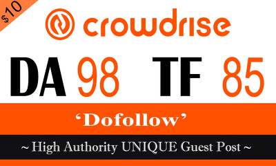 "Write and publish UNIQUE Guest Post on ""Crowdrise"" TF-85"