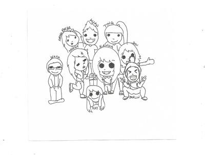 Sketch a cute B&W cartoon