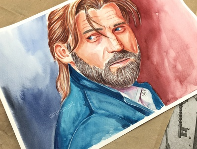 Draw a portrait from photo with watercolor