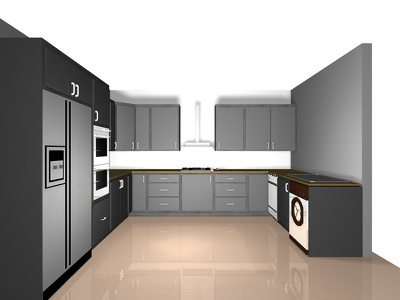 Design a 3d drawing of a kitchen or bedroom