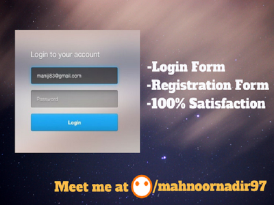 Create login or sing up form for your website