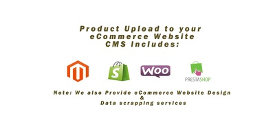Upload products (100 ) to Magento|Shopify|Woocommerce|Prestashop