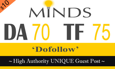 "Write and publish UNIQUE Guest Post on ""MINDS"" DA-94"