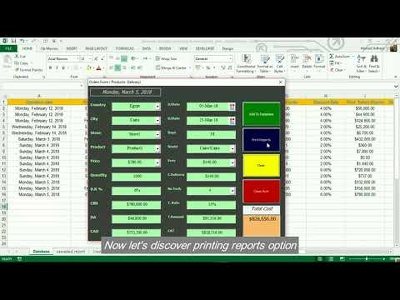 Excel form to fill data with calculation & generate reports